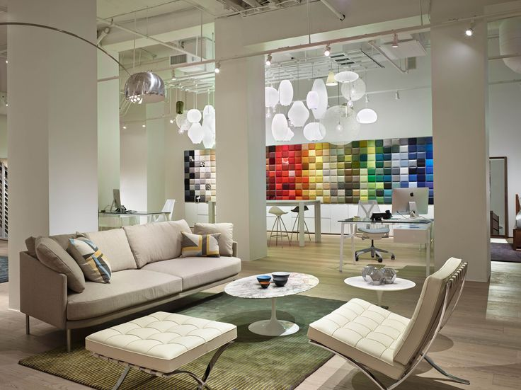 Visit The New DWR Seattle Studio Ye Catching Features Include Light Cloud Of Pendant Fixtures Swatch Wall 300 Upholstery Tiles Design