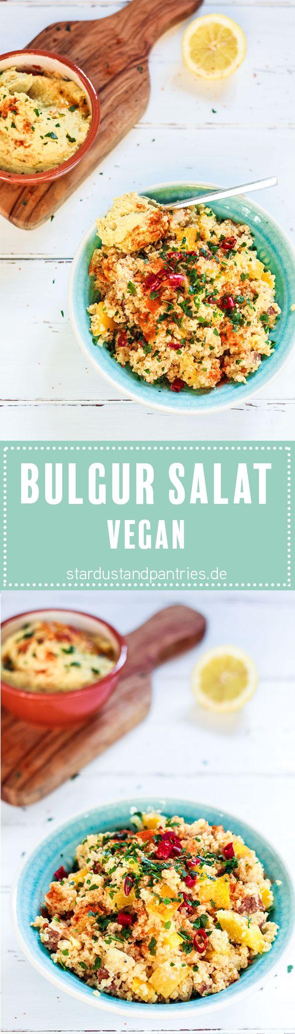 Veganer Bulgur Salat mit Hummus. Super leckerer und würziger Bulgur Salat mit Räucher Tofu, Chili und Hummus. Lecker zum Grillen