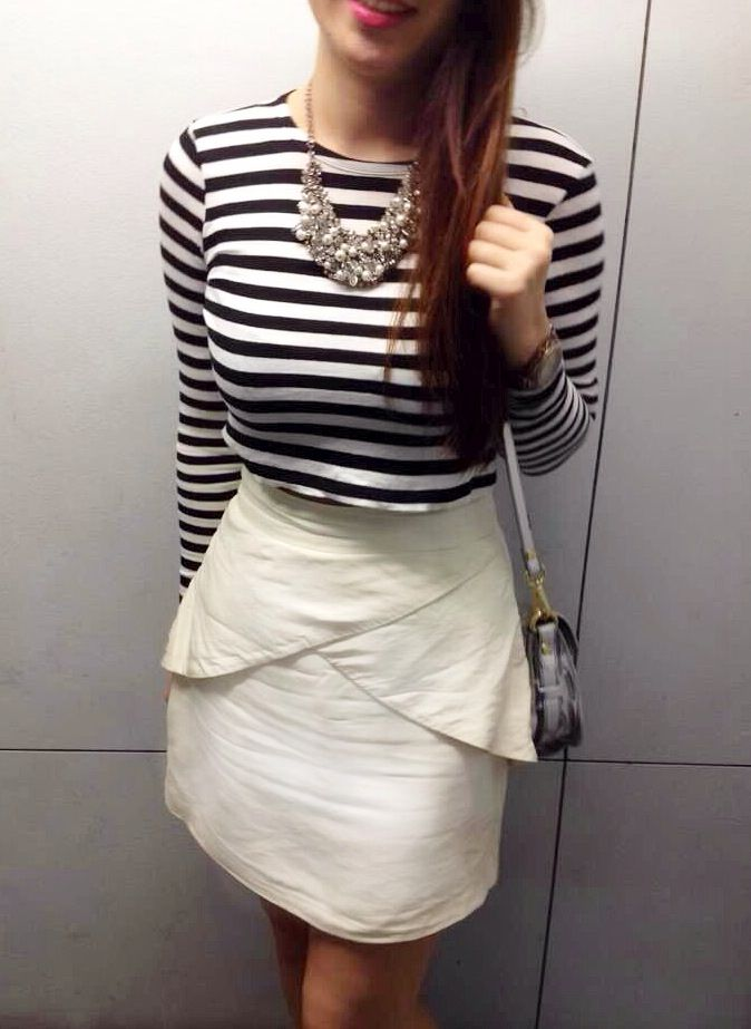 What's not to love about the crop?   Zara Black & White Strip Crop Top   Nicola Finetti Peplum Skirt   Zara Metallic Bag  