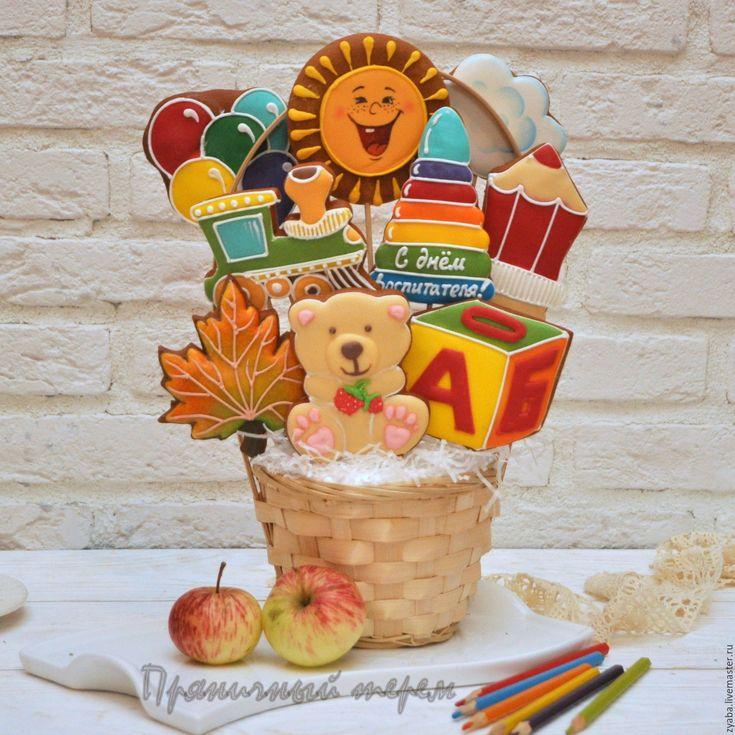 Купить Корзина воспитательнице - пряники на день воспитателя - пряник, расписные пряники, имбирное печенье