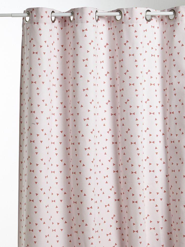 Rideau imprimé en coton avec oeillets - rose / triangles, Maison - Vetement et déco Cyrillus