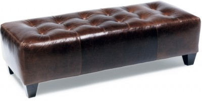 L2128-O1, Button Tufted Ottoman in Leather