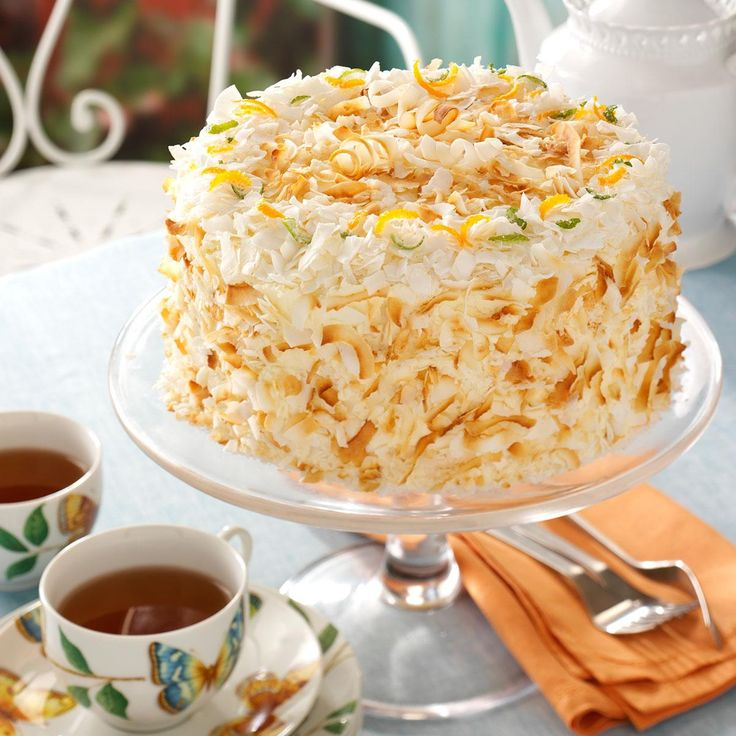 Coconut Chiffon Cake Recipe -Toasted coconut adds visual appeal to this tall and impressive cake. With an airy texture and heavenly coconut-ginger flavor,it's a lovely end to meals throughout the year.
