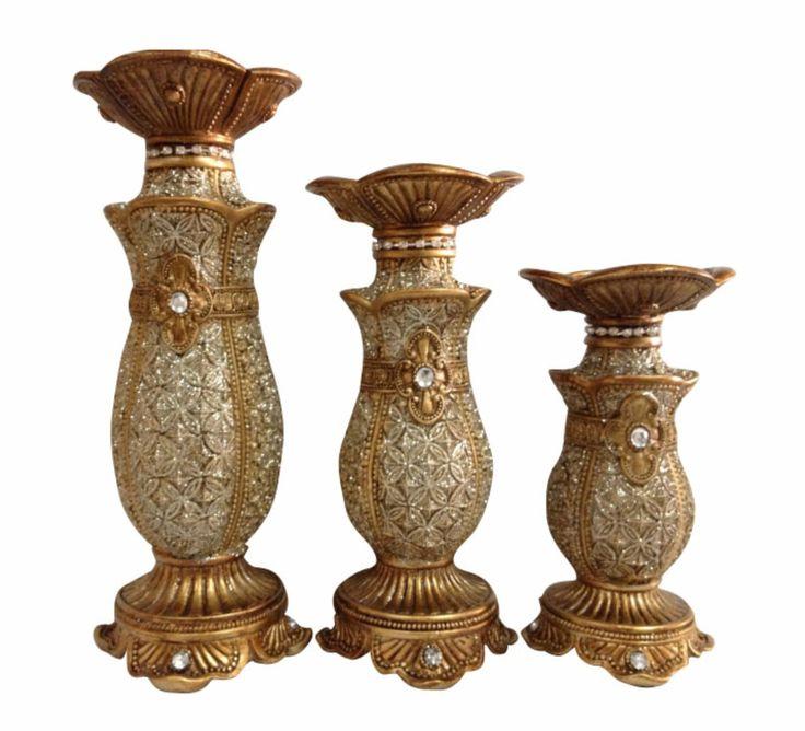 3 pc Hurricane Set Candle Holders Emblem - Wholesale Favors