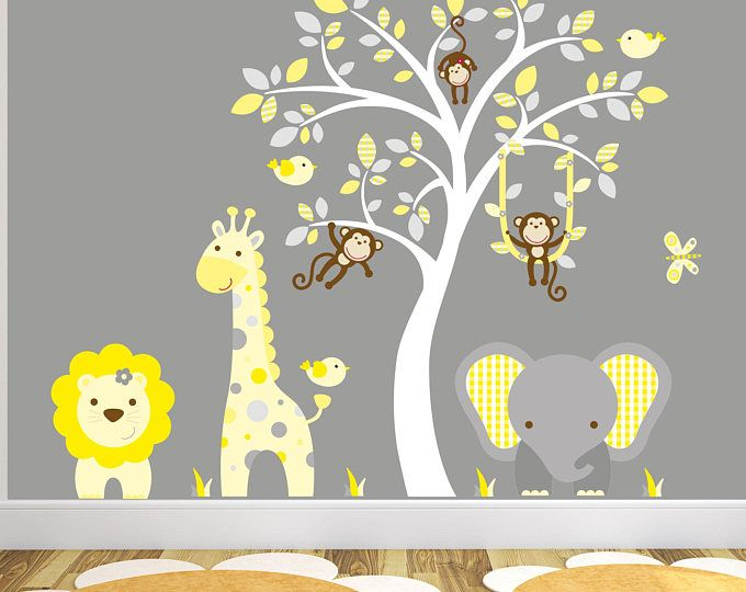 Jungle Decal, Yellow And Grey Nursery Decor. Gender Neutral Baby Safari Wall  Stickers,
