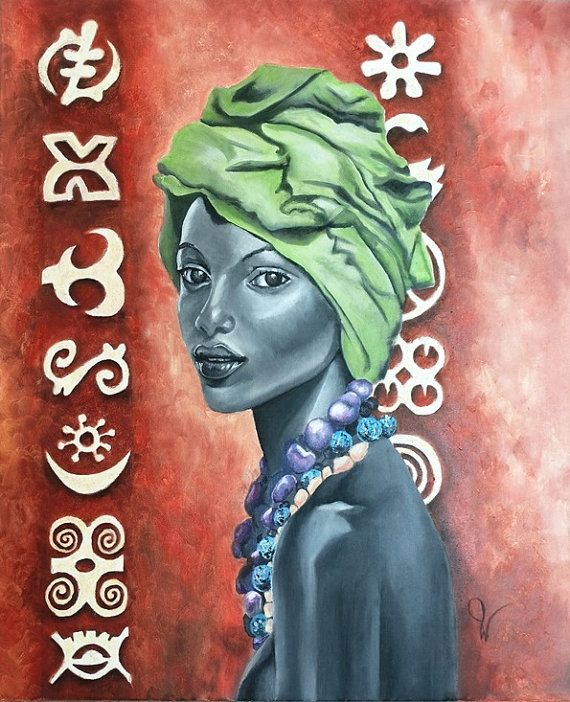 Title: African beauty -Original fine art oil painting on stretched canvas.  Size: 17 x 21 (45cm x 55cm), the canvas is 6/10 inch deep.