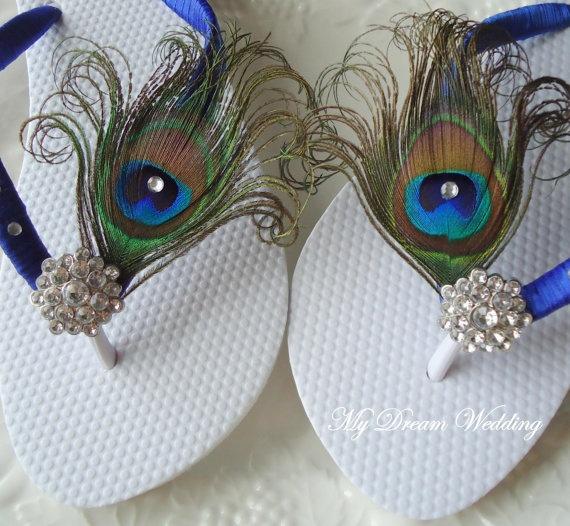 Peacock blue Flip flops with Swarovki Crystals by MyDreamWedding, $34.99