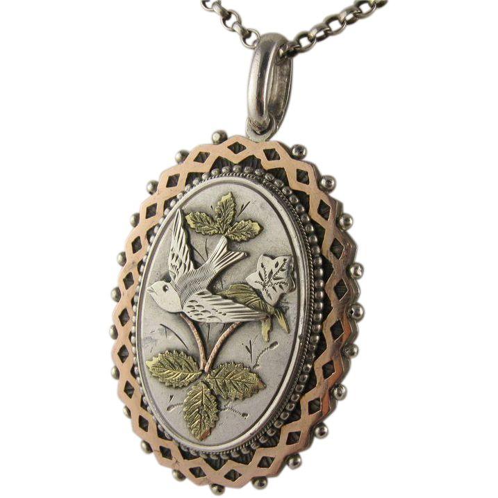 Finest Antique Victorian Silver & 9K Bi-Colour Gold Swallow Locket, Geometric Border, aesthetic movement
