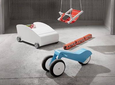 Mopo - Kickbike (transforms into a two-wheeler) + Auto - Cot / walking cart + Juna - Wooden train set inspired by Helsinki metro