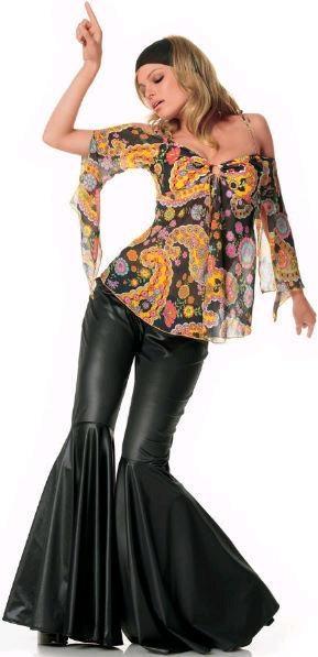 FANCY DRESS BELL BOTTOM COSTUMES - BLACK BELL BOTTOMS - VINTAGE PRINT HIPPIE TOP OUTFIT / 1960\'S & 1970\'S RETRO GIRL UNIFORM