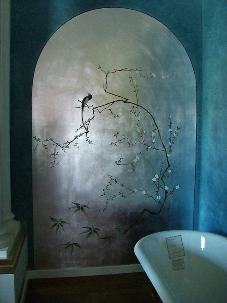 Faux walls, silver leaf archway and asian tromp l'oiel make this bathroom a truly special retreat.