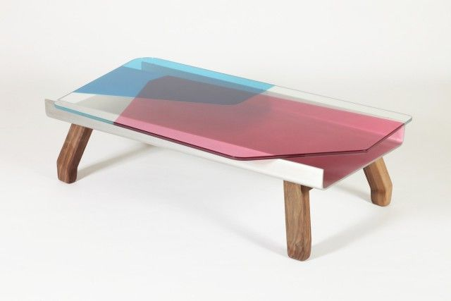 Dragon Fly table Year: 2013 Material: Coloured glass, wood Dimensions: 35 cm x 134,4 cm x 73,1 cm Commission: Galerie Kreo, Paris