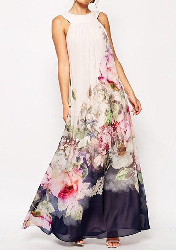 White Floral Print Pleated Sleeveless Chiffon Maxi Dress - Maxi Dresses - Dresses