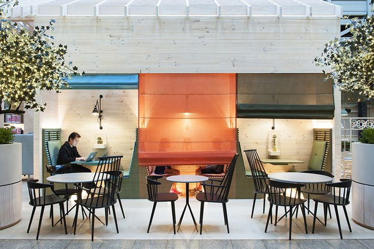 Sometimes, people need a little privacy for a phone call, dinner, or discussion when in a public space, especially in a hotel, and one way that design firm HASSELL solved this at the Ovolo Hotel in Sydney, Australia, was by including drop-down shades on the booth seating in the lobby area.