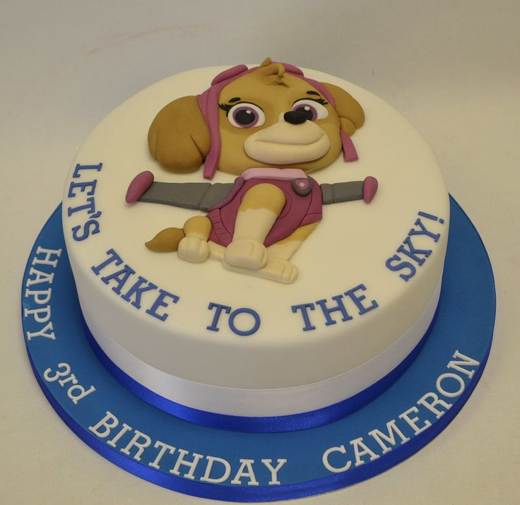 Skye from Paw Patrol 2D Cut Out Cake - Children's Birthday Cakes ...