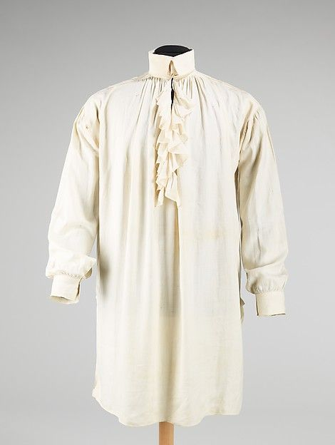Shirt, 1816-1817, American, Made of linen ~ This shirt was created, from the linen fiber to the finished garment, by the donor's great-grandmother, Elizabeth Wild Hitchings, for her husband Benjamin Hitchings, a sea captain, in 1816. It was common practice for a wife or servant to hand stitch family members' shirts prior to the mid-19th century, but rarely was such handiwork recorded, making this case rare and intriguing.