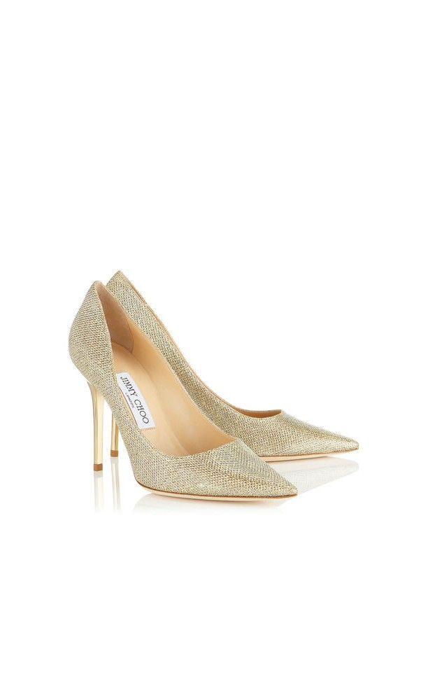 Jimmy Choo Abel Gold Lame Glitter Pointy Toe Pumps Heels Wedding Ss2016