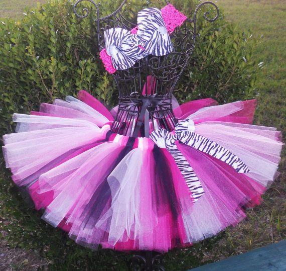 Bella Zebra Tutu-Pink Tutu-Baby Tutu-Girls Tutu-Tutu Set-Princess-Birthday-Baby Shower-Flower Girl-Pageant-Photo Prop-FREE Hband. $22.00, via Etsy.