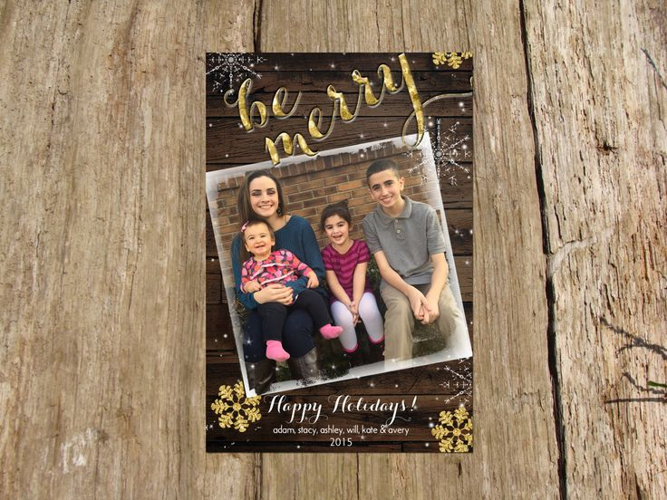Christmas Holiday Photo Greeting Card, Rustic Wood Gold Sparkle Snowflake Design by RSVPinvitationsbyme on Etsy