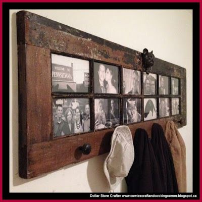 Dollar Store Crafter: Turn A French Door Into A Photo Gallery Coat Rack