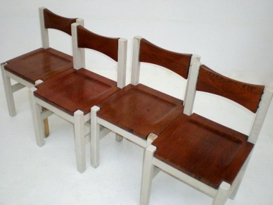 Set Tapiovaara chairs 1963 mod. Hongisto, with lacquered legs, seat and backrest in natural wood