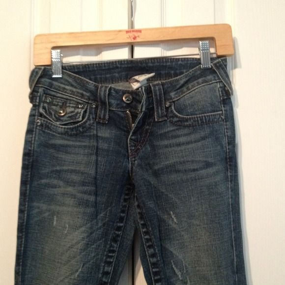 REDUCED! Flare leg True Religion brand jeans Style is Disco Joey! Flare leg with twisted seam a real Swarovski crystals. Only worn once. Would keep 'em if they still fit. True Religion Jeans