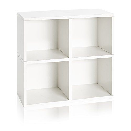 Way Basics 4 Cubby Eco Under Desk Or Table Bookcase Stackable Organizer And Storage Shelf White Made From Sustai Cube Storage Bookcase Bookcase Organization