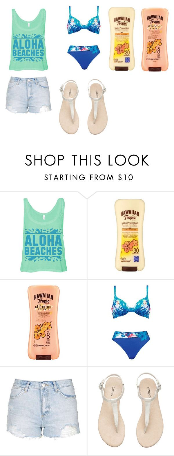 """hawaii time"" by soph-133 ❤ liked on Polyvore featuring Hawaiian Tropic, Naturana, Topshop and H&M"