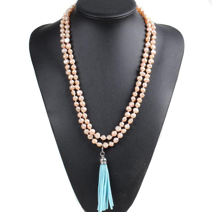Модный дизайн длинные картофель форма розовый жемчуг пресноводных и синий кисточкой ожерельекупить в магазине Lucky Fox JewelryнаAliExpress
