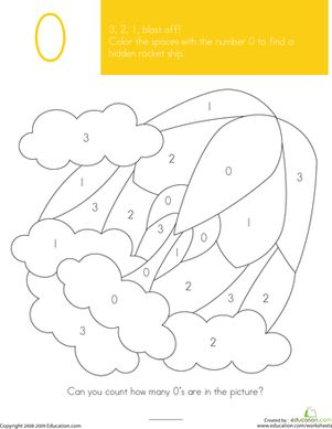 Preschool Counting & Numbers Color by Number Worksheets: Color What's Hiding