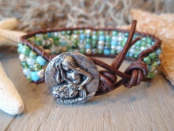Mermaid beaded leather bracelet Mosaic Mermaid by slashKnots, $70.00