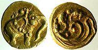 """""""Fanam auch Panam ist die Bezeichnung einer Münze, die in weiten Teilen von Südindien und Ceylon/Sri Lanka verbreitet war. Der Ursprung der Münze liegt etwa im 9. Jahrhundert. Sie ist winzig und wurde in Gold geprägt. Ihr Gewicht betrug circa 0,35 g, was dem Gewicht eines Samenkorn des roten Sandelholz-Baums (tamilisch Manjadi, lateinisch Adenanthera pavonina) entspricht."""""""