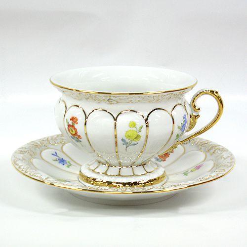 マイセン 食器 / ドイツ製 陶磁器。マイセン (Meissen) 金彩小花 ホワイト[010198] ティーカップ&ソーサー 17582