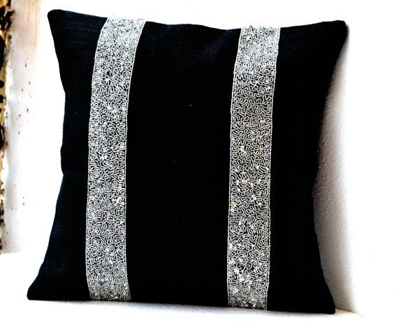 Decorative Pillow Cover in Black Burlap with Silver Sequin Beads Stripes -Silver Black Throw Pillow Covers -Cushion Covers All Sizes