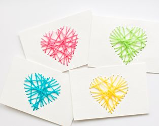 MAKE STRING HEART YARN CARDS--could also use technique to do geometric shapes as cross-curricular project.