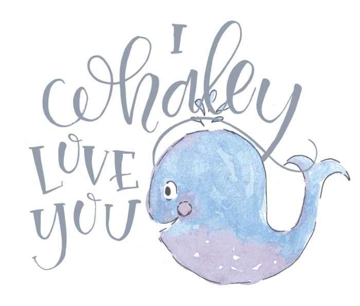 Whaley Love You Art Print   chrystalizabeth   whale   watercolor   painting   cute   pun   punny   love   hand lettering   brush lettering   typography   ocean   sea   nautical   quote