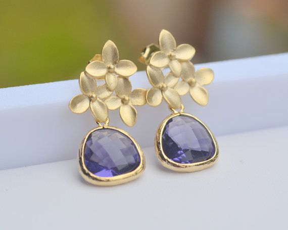 Amethyst Purple Teardrop and Gold Cherry Blossom by RusticGem, $32.00