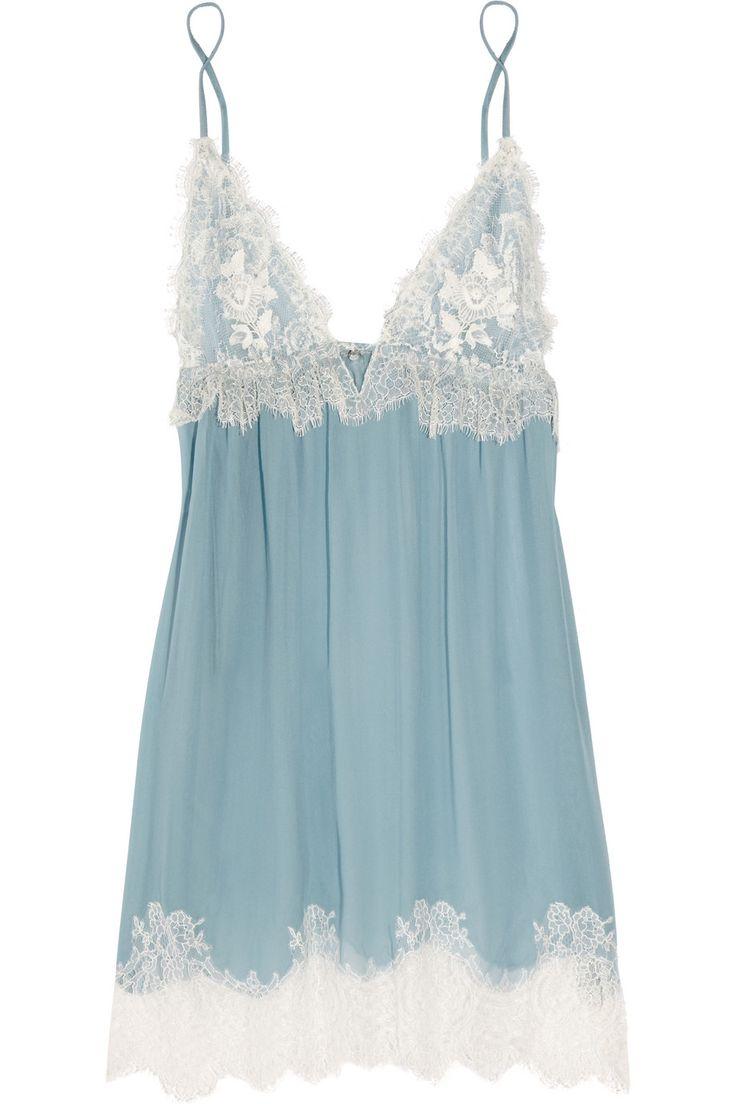 Jenny Packham Chantilly Lace and Silk-chiffon Chemise in Blue