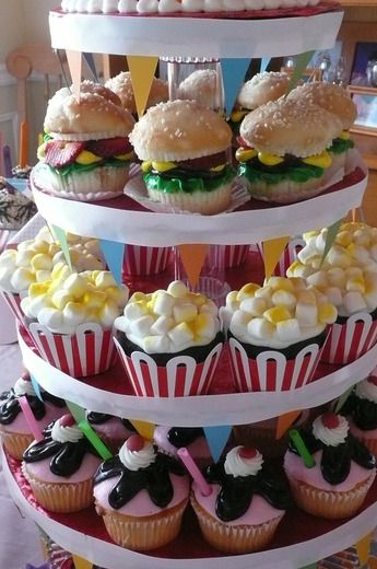 hamburger, popcorn, and sundae cupcakes