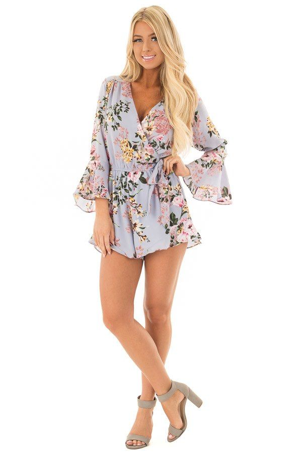 fb4e7319c52 Misty Blue Floral Print Bell Sleeve Romper with Side Tie front full body