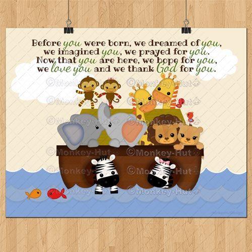 SS Noah's Ark Baby Quote Print / S.S. Noah boy boys animals elephant monkey zebra giraffe / typography poster kids room nursery wall art