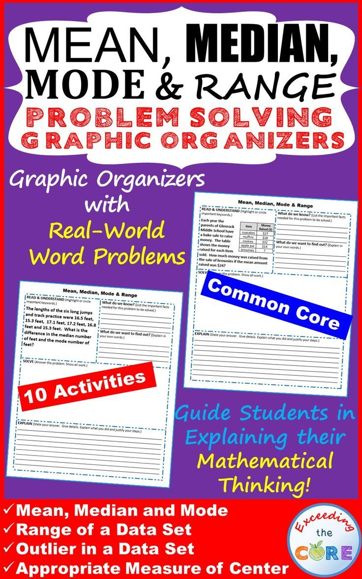 Get your students successfully understanding and solving MEAN, MEDIAN, MODE, & RANGE word problems with these PROBLEM SOLVING GRAPHIC ORGANIZERS. Topics Covered: ✔️ Mean, Median, Mode ✔️ Range of a Data Set ✔️ Outlier in a Data Set ✔️ Appropriate Measures of Center Perfect for math homework, math assessments, and math stations. Common Core 6th grade math 6SP3, 6SP5