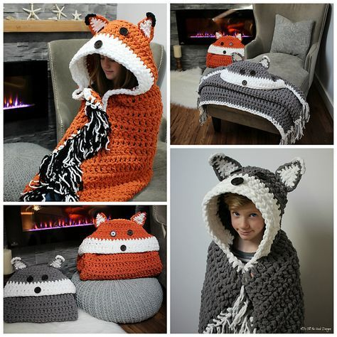 Crochet hooded animal blanket pattern. includes crochet hooded fox and wolf pattern, and the blanket can be folded into a pillow!