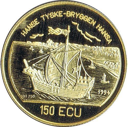 Moneda de oro 150 Ecu Noruega 1994. 925 Años Bergen. Barco.