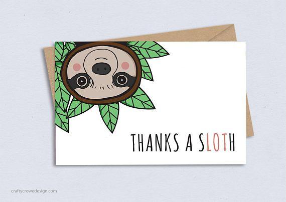 Thank You Card, Sloth, Thanks, Funny, Cute, Pun,