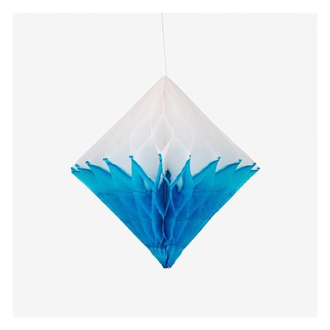 Honeycomb Paper Diamond - Turquoise Blue & White