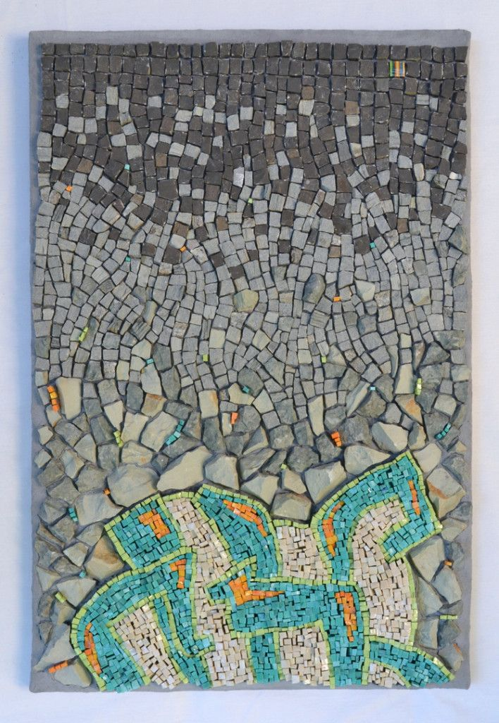 """""""Punctuated Equilibrium I"""" (2013) by Julie Sperling [smalti, stone, skateboard -- 12"""" x 18""""] #mosaic"""