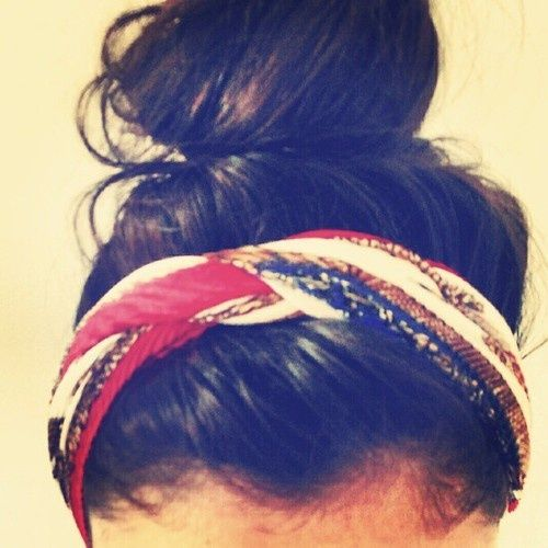 Braided scarf headbands + messy buns.