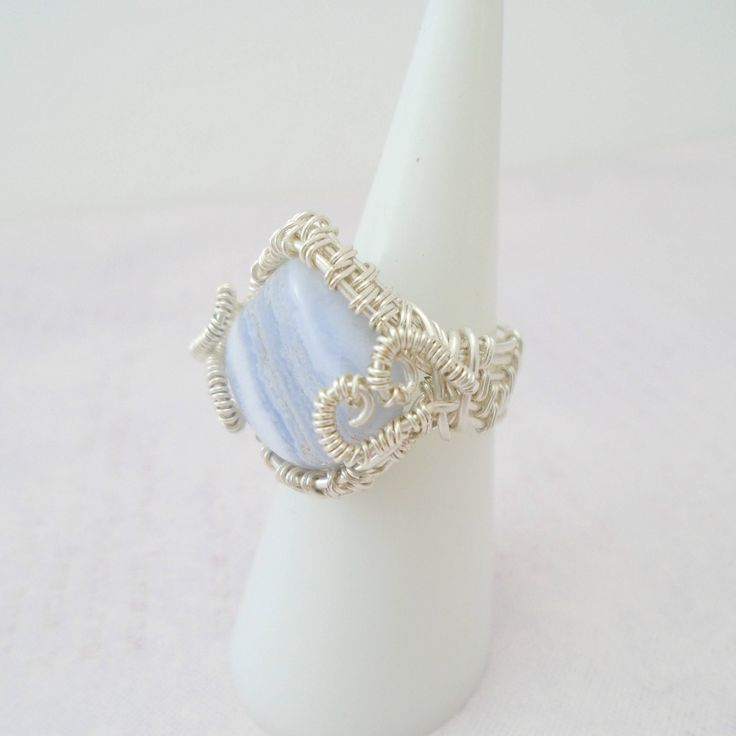 Blue Lace Agate Ring, Blue Lace Agate Wire wrapped Ring, Blue Lace Agate Jewelry, Purple Gemstone Ring, Blue lace agate wire ring by K8tieSparkles on Etsy