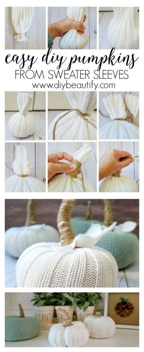 DIY Craft: These DIY pumpkins are made from sweater sleeves! They're affordably adorable and easy to make. I'm sharing the full tutorial at diy beautify!